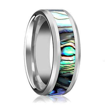Tungsten Mother Of Pearl Inlay - Tungsten Wedding Band - Beveled - Polished Finish - 4mm - 6mm - 7mm - 8mm - 10mm - Tungsten Wedding Ring