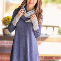 Removable Scarf Dress - Navy and Grey