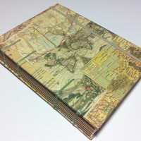 World Map - London France  - Handmade PAPER Journal Notebook - Coptic Stitched