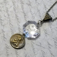 Upcycled Jewelry Chandelier Crystal and Religious Medal Necklace