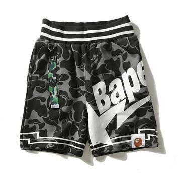BAPE AAPE Fashion Women Men Casuial Black Camouflage Letter Print Sports Shorts I12735-1
