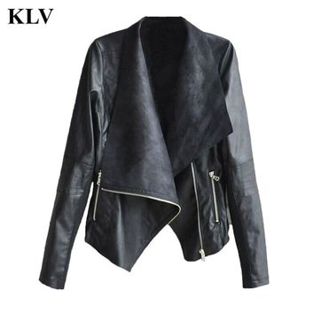Fashion Vintage Women Long Sleeve Solid  Biker Motorcycle Leather Lady Casual V-Neck Zipper Jacket Coat20