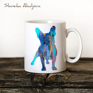 French Bulldog 2 Mug Watercolor Ceramic Mug Unique Gift Bird Coffee Mug Animal Mug Tea Cup Art Illustration Cool Kitchen Art Printed dog