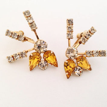 Vintage Amber Rhinestone Starburst Earrings - Screw Back - citrine yellow white gold rhinestones - gold toned metal -unique - unusual