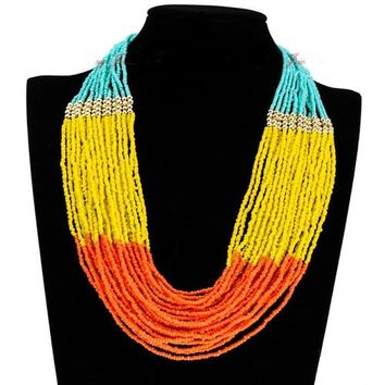 "19"" multi seed bead boho layered bib necklace"