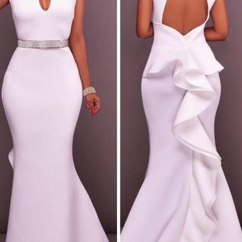 White Cut Out Backless Ruffle Cap Sleeve Mermaid Homecoming Party Maxi Dress