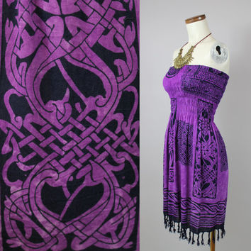 90s - Purple & Navy Blue - Nouveau Celtic - Batik - Smocked Elastic - Strapless Summer Dress - Vacation - Beach