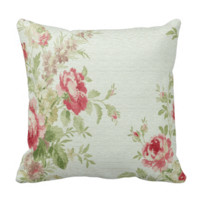 Vintage Floral Print Throw Pillow-Pink Flowers