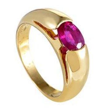 Bulgari Gold Ruby Solitaire Band Ring