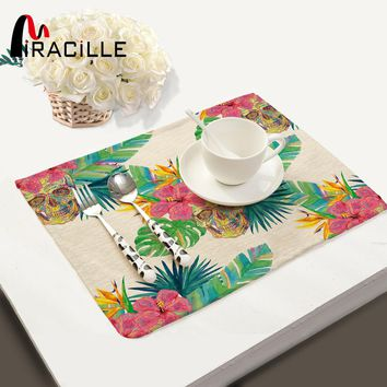New Arrival Heat-insulated Table Mat Multicoloured Skull Print Rectangle Shape Placemat Home Accessories Kitchen