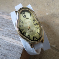 Salvador Dali Watch - Women's Watches - Leather Watch - Wrist Watch - Watches For Women - Dali Wrist Watch - White Watch - Wrap Watch