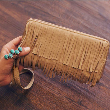Living on the Fringe Wallet - Taupe