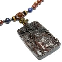 Auspicious Guardian Kwan Carved Green Jade Protective Amulet Necklace - Feng Shui Chinese Zodiac