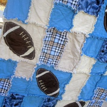 Rag Quilt PATTERN: baby Blanket, Football, Toddler Bedding, Sewing, Instant Download