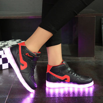 On Sale Hot Sale Professional Comfort Hot Deal Winter High-top Lightning Shoes Round-toe Flat Sports Jogging Shoes [4964954180]