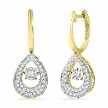 10kt Yellow Gold Womens Round Diamond Teardrop Moving Twinkle Dangle Earrings 1-2 Cttw
