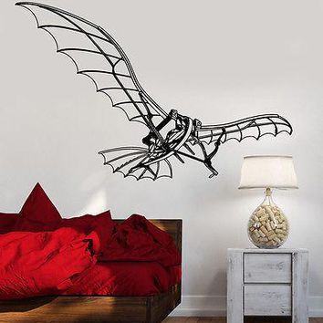 Wall Vinyl Flying Machine Leonardo Da Vinci  Guaranteed Quality Decal Unique Gift (z3484)