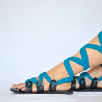 Black Gladiator Sandals, Scarf Sandals, Wrap Sandals - Choose Ribbon Laces from 12 colors - Customizable Sandals ALL SIZES - Sneha