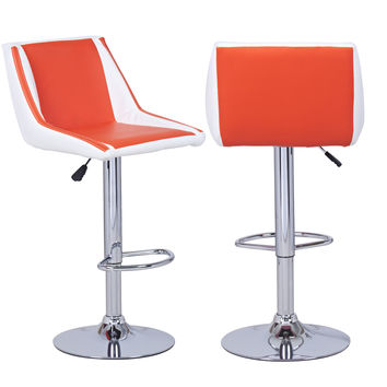 Adeco Orange/White Cushioned Leatherette Hydraulic Lift Adjustable Mid-Back Barstool Chair Chrome Finish Pedestal Base (Set of two)