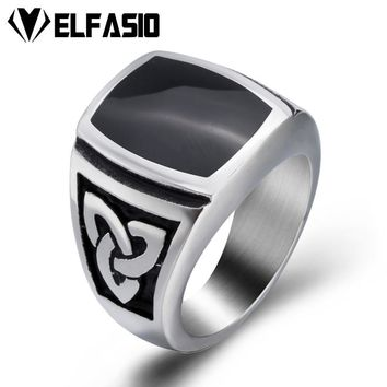 Elfasio Mens Womens Silver Elegant Black Enamel Celtic Knot 316L Stainless Steel Ring  Fashion Jewelry Size 8-13