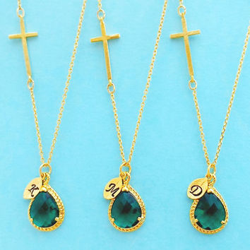Set of 1-4, Personalized, Letter, Initial, Sideways, Cross, Emerald, Green, Gold, Silver, Necklace, Sets, Set, Jewelry, Wedding, Gift