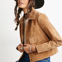 Genuine Suede Collared Jacket