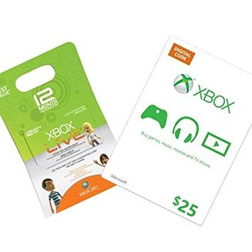 Xbox Live 12-Month Gold + $25 Xbox Gift Card - Xbox 360 Digital Code