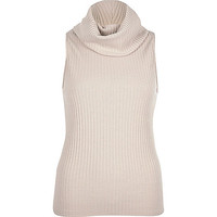 Grey ribbed cowl neck sleeveless top