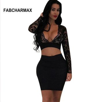 two piece lace dress V neck cropped long sleeve bodycon hollow out outfit