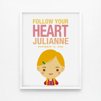 Personalized Children Decor Custom Follow Your Heart Girl 8x10 poster