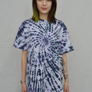 Tie Dye Shirt Soft Grunge Hippie Large Mens Psychedelic Black Unisex Women Clothing Handmade Tie Dye Short Sleeve Black Violet Pastel Grunge