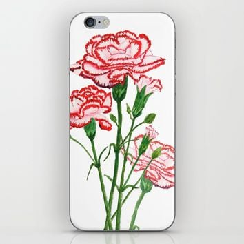 pink and red carnation watercolor painting iPhone & iPod Skin by Color And Color