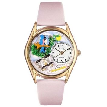 SheilaShrubs.com: Women's Bird Watching Yellow Leather Watch C-0150012 by Whimsical Watches: Watches
