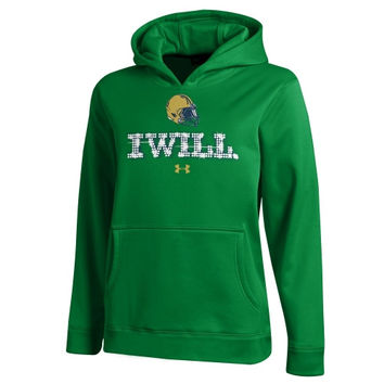 Notre Dame Fighting Irish Under Armour Youth Fleece Hoodie - Kelly Green - http://www.shareasale.com/m-pr.cfm?merchantID=7124&userID=1042934&productID=546712158 / Notre Dame Fighting Irish
