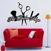Wall Decal Vinyl Sticker Art Decor Hairdressing Hair Salon Style Beauty Barber Shop Cuts Beard Inscription Shaver Scissors Signboard M1499)