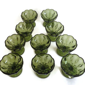1970's Anchor Hocking Fairfield, Glass Comport, Avocado Green, Set of 10, Sherbet Dishes, Pressed Glass, Vintage Glass