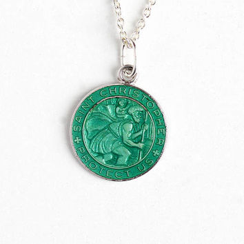 Vintage St. Christopher Protect Us Sterling Silver Pendant Charm Necklace - Green Guilloche Enamel Religious Saint Catholic Dainty Jewelry