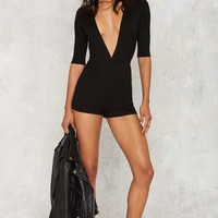 Lights Down Low Plunging Romper