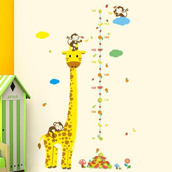 Cartoon Giraffe Monkey Height Measure Wall Stickers For Kids Rooms Height Chart Ruler Wall Decals Home Decor Nursery Home Decor