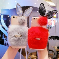 Rabbit ear fur buckle strap phone case for iPhone 6 6s 7 8 plus X XS max XR for Samsung galaxy s6 s7 edge s8 s9 plus note 5 8 9