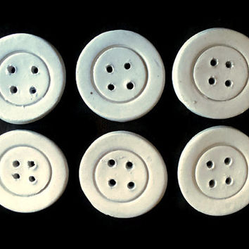 Buttons- Set of six  ceramic round white buttons- 5cm/1,97in round buttons- Large sewing buttons- Craft supplies.