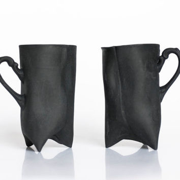 Black Porcelain cups set of two  ceramic cups by ENDEsign on Etsy