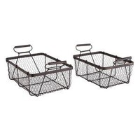 set, two, 2, industrial, wire, baskets, basket, metal, | Wisteria