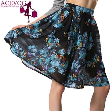 ACEVOG Brand Floral Printed Summer Casual Knee-length Midi Long Pleated Skirt For Women Ladies Plus Size S-XXL