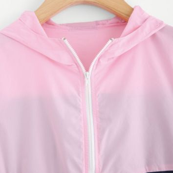 Blue & Pink Zip-up Hooded Jacket