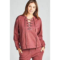 Dropped long sleeve grommet distressed cotton polyester slub french terry hoodie top