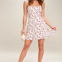 Be a Doll Cream Floral Print Mini Dress