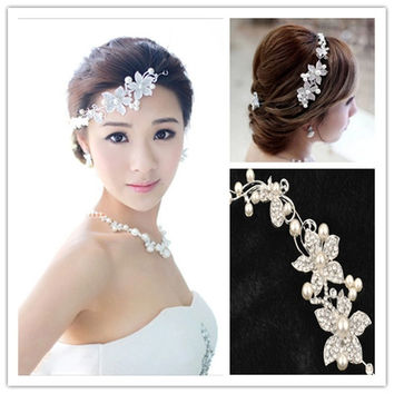 "Ladies Silver Rhinestone Bridal Wedding Flower Pearls Headband Hair Clip Comb (Size: 10"" by 2"", Color: Silver) = 1931930564"
