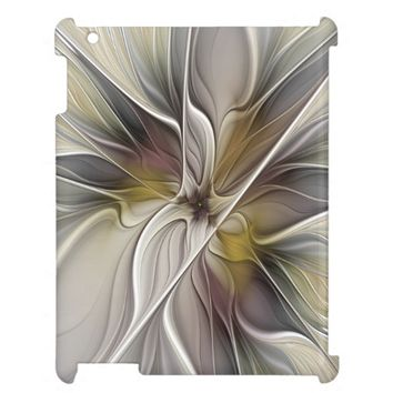 Floral Fractal, Fantasy Flower with Earth Colors iPad Cover