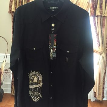 Ed Hardy Button Down Shirt 'Size XL' (Rare Find!! Must See!!)🔥🔥